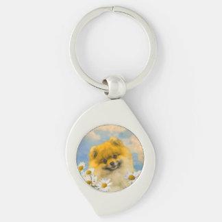 Porte-clés Pomeranian dans les marguerites