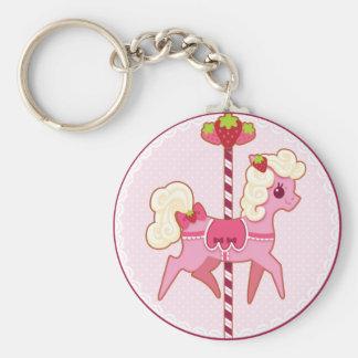 Porte-clés Poney de carrousel - fraises et crème