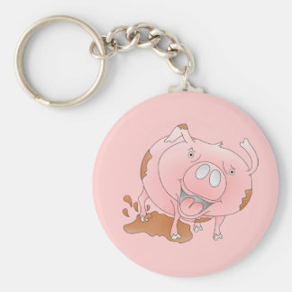 Porte-clés Porc rose de bande dessinée