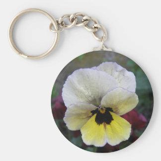 Porte-clés Porte - clé blanc et jaune de pensée