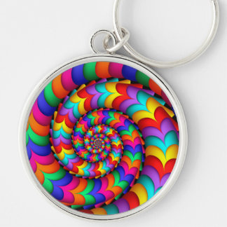 Porte-clés Porte - clé bouclé de spirale d'arc-en-ciel de