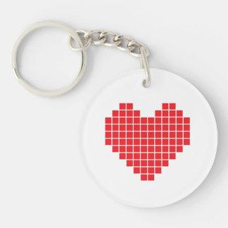 Porte-clés Porte - clé d'acrylique de coeur de pixel