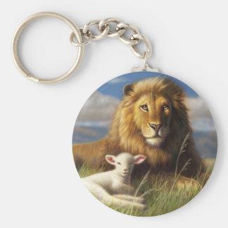 Porte-clés Porte - clé de base de bouton de lion et d'agneau