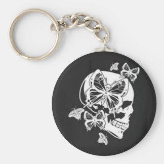 Porte-clés Porte - clé de bouton de papillon et de crâne