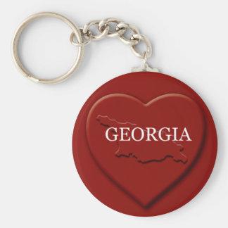 Porte-clés Porte - clé de carte de coeur de la Géorgie