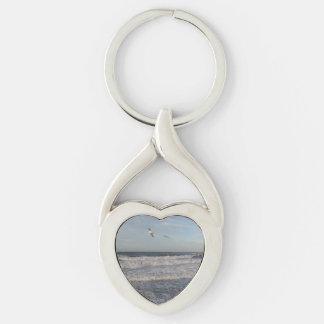 Porte-clés Porte - clé de coeur de rivage et de mouettes