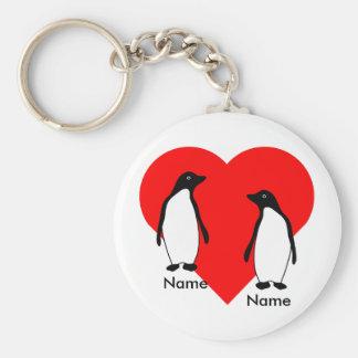 Porte-clés Porte - clé de couples d'amour de pingouin