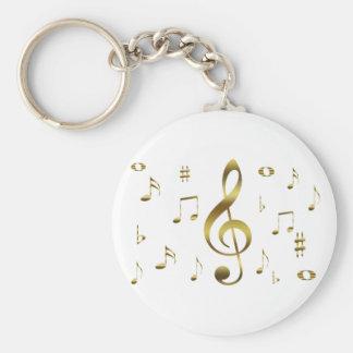 Porte-clés Porte - clé de notes musicales d'or