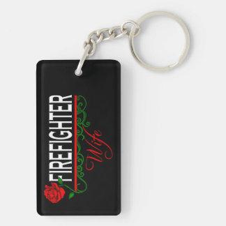 Porte-clés Porte - clé d'ÉPOUSE de SAPEUR-POMPIER de rose