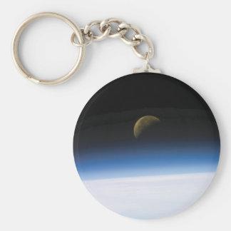 Porte-clés Porte - clé en hausse de lune de photo de l'espace