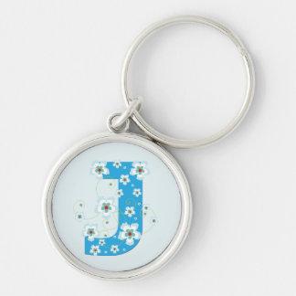 Porte-clés Porte - clé floral assez bleu initial du