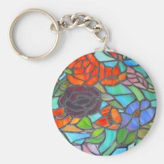 Porte-clés Porte - clé floral en verre souillé