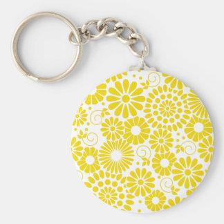 Porte-clés Porte - clé jaune floral vintage
