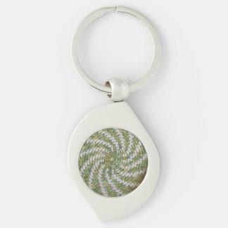 Porte-clés Porte - clé (métal) - spirale blanche sur le vert