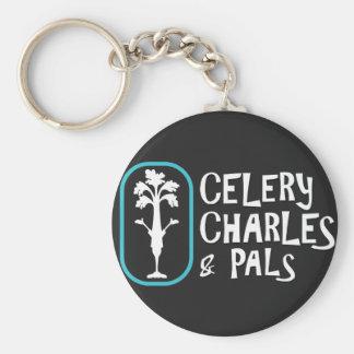 """Porte-clés Porte - clé noir de bouton de """"Charles et de"""
