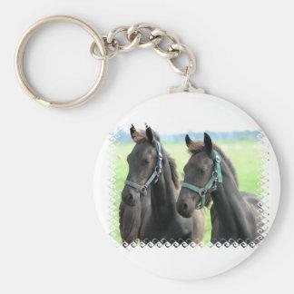 Porte-clés Porte - clé noir de conception de chevaux