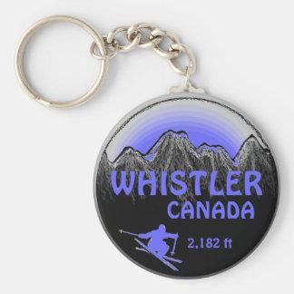 Porte-clés Porte - clé pourpre bleu d'art de ski de Whistler