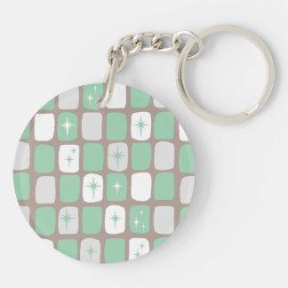 Porte-clés Porte - clé rond de Starbursts de rétro jade