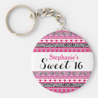 Porte-clés Porte - clé rose du bonbon 16 à coeur de zèbre