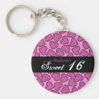 Porte-clés Porte - clé rose du bonbon 16 à coeurs de motif de