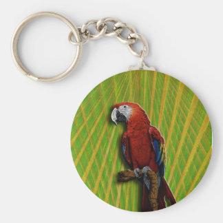 Porte-clés Porte - clé rouge de perroquet et de paumes