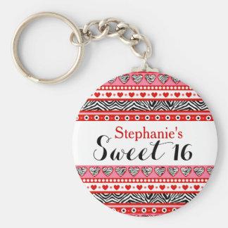 Porte-clés Porte - clé rouge du bonbon 16 à coeur de zèbre
