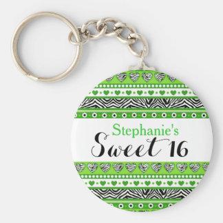 Porte-clés Porte - clé vert du bonbon 16 à coeur de zèbre