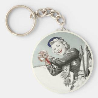 Porte-clés Porte - clé vintage avec la copie de vacances
