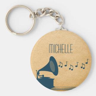Porte-clés Porte - clé vintage bleu de phonographe