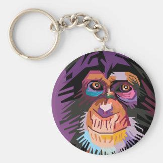 Porte-clés Portrait coloré de singe d'art de bruit