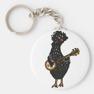 Porte-clés Poulet polonais drôle jouant l'art de banjo