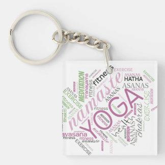Porte-clés Prune de nuage de mot de yoga/ID254 vert