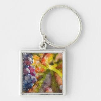 Porte-clés Raisins de cuve colorés sur la vigne