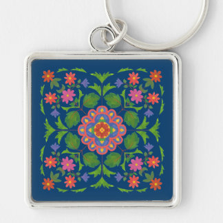 Porte-clés Rangoli floral chic sur le porte - clé profond de