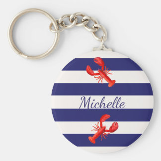 Porte-clés Rayures nautiques blanches bleues avec les homards