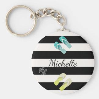Porte-clés Rayures nautiques blanches noires avec le décor de