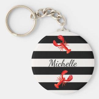 Porte-clés Rayures nautiques blanches noires et homards