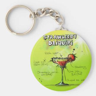 Porte-clés Recette de daiquiri de fraise - cadeau de cocktail