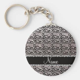 Porte-clés Remous argentés noirs nommés personnalisés de