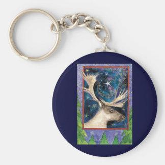 Porte-clés Renne de Noël la nuit avec une étoile brillante