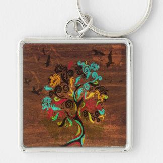 Porte-clés Rétro arbre sur le porte - clé en bois