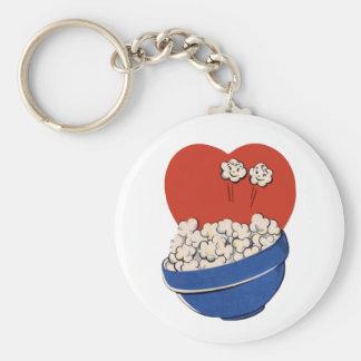 Porte-clés Rétro humour mignon, bol de maïs éclaté pour les