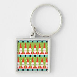 Porte-clés Rétro porte - clé carré géométrique de Père Noël