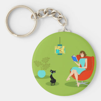 Porte-clés Rétro porte - clé de bouton de femme de lecture