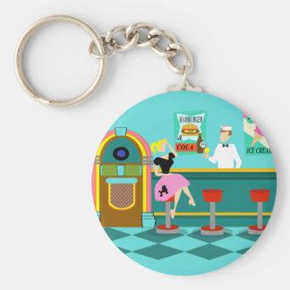 Porte-clés Rétro porte - clé de bouton de fontaine de soude
