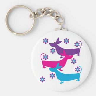 Porte-clés Rétro porte - clé floral génial de chien de chasse