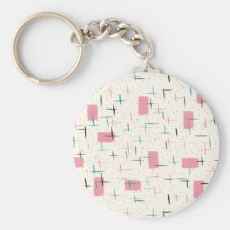 Porte-clés Rétro porte - clé rose atomique de bouton de motif