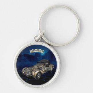Porte-clés Rétro voiture de scintillement bleue d'or vintage