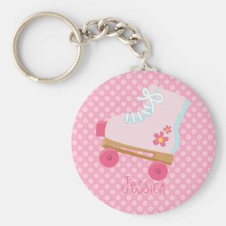 Porte-clés Rollerskates rose pointille le porte - clé