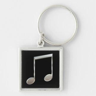 Porte-clés Rondes rayonnées par notation musicale argentée